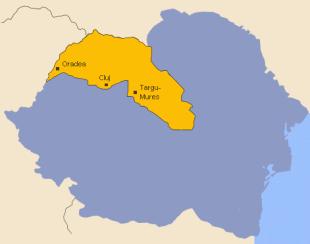 Harta României interbelice - în galben este marcată porțiunea cedată Ungariei în urma Dictatului de la Viena
