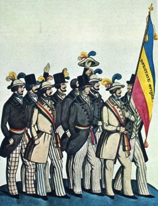 """Studenţi revoluţionari din Moldova şi Ţara Românească, prezentând la Paris tricolorul românesc cu menţiunile """"Dreptate, Frăţie"""" în 1848. Acuarelă de C. Petrescu."""