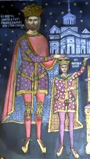 Mircea cel Bătrân și Mihail I, fiul său. Pictură aflată în bolnița Mănăstirii Cozia