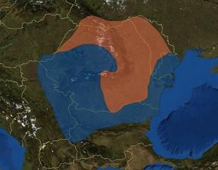 Albastru: tracii romanizaţi; ruginiu: dacii liberi.