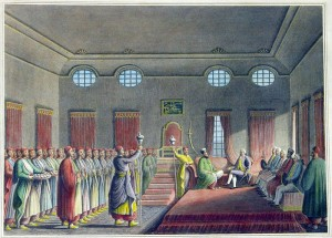 Alexandru Moruzi primindu-l pe ambasadorul britanic la Curtea Nouă