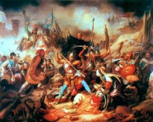 Bătălia de la Belgrad, pictură maghiară din secolul XIX. În mijloc se află Giovanni da Capistrano ridicând crucea.