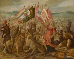 Bătălia de la Brașov. Câteva steaguri au fost capturate în Bătălia de la Guruslău (1601) de Mihai Viteazul și generalul Basta. De Hans von Aachen, 1603-1604