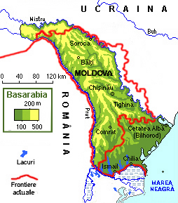 Basarabia (colorată conform reliefului) în comparaţie cu frontierele actuale