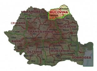 Bucovina pe harta Romaniei