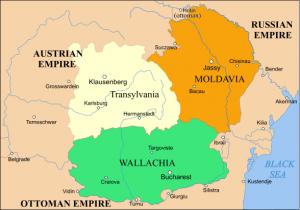 Moldova (în portocaliu) şi Valahia (verde), între 1793 şi 1812
