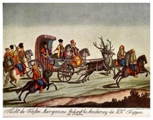 O imagine a extravaganţelor atribuite fanarioţilor din Muntenia Nicolae Mavrogheni călătorind prin București într-o trăsură trasă de cerbi