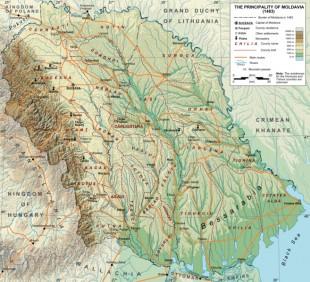 Principatul Moldovei la nivelul de expansiune maximă - în 1483 - sub Domina lui Ştefan cel Mare