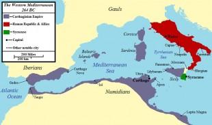 First Punic War 264 BC.jpg Vestul Mării Mediterane, 264 î.Hr. Roma este indicată în roșu, Cartagina în gri și Siracuza în verde.