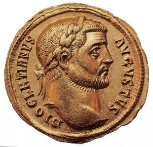 Monedă de bronz emisă sub Dioclețian