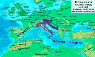 Regatul lui Odoacru după ce a anexat Sicilia și Dalmația.