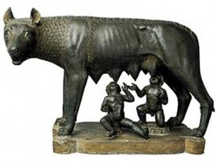 Lupoaica, hrănind copiii gemeni Romulus și Remus.