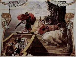 Însoţitorii lui Odiseu furând vitele sfinte ale lui Helios (Pellegrino Tibaldi)