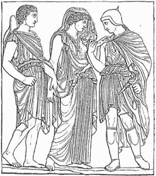 Despărţirea lui Orfeu de Euridice. Desen după relieful 1031 din Villa Albani