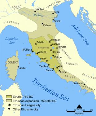Extinderea maximă a civilizației etrusce și cele 12 orașe ale ligii etrusce