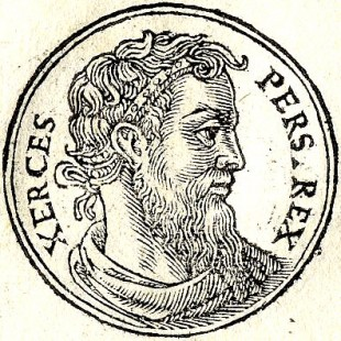 Xerxes, Regele Persiei, portret de Guillaume Rouille (1553 d.Hr.)